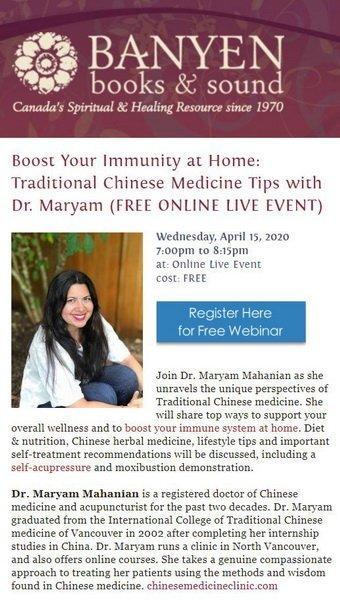 Banyen Books - Dr. Maryam Webinar Boost Immune System